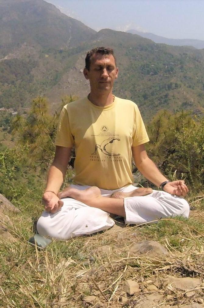 meditating in the Himalayas