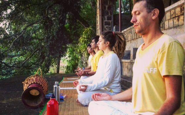 Meditatiing at Swami Vishnudevanandas house